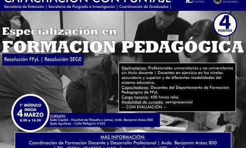 Capacitación Docente. Especialización en Formación Pedagógica