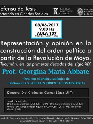 """Defensa de Tesis """"Representación y opinión en la construcción del orden político"""""""