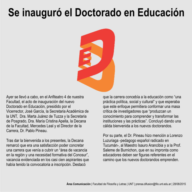 nota apertura doctorado educacion