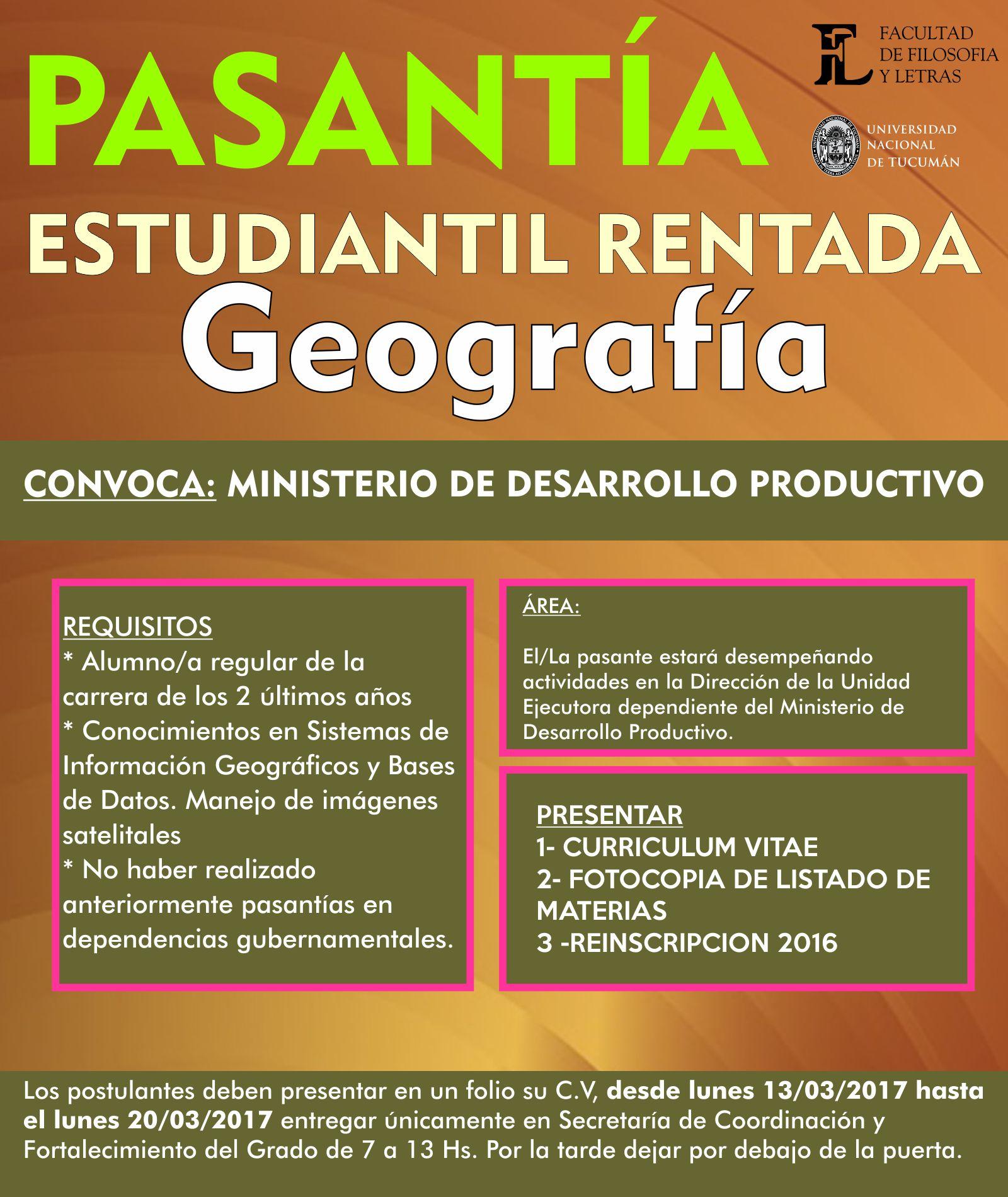 Pasantía Geografía – Facultad de Filosofía y Letras Universidad ...