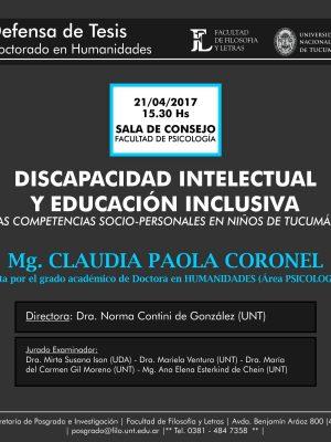 """Defensa de Tesis """"Discapacidad intelectual y educación inclusiva"""""""