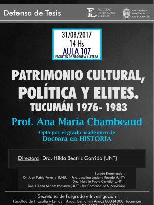 """Defensa de Tesis """"Patrimonio cultural, política y élites"""""""