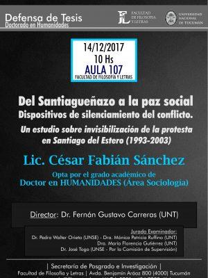 "Defensa de Tesis ""Del santiagueñazo a la paz social"""