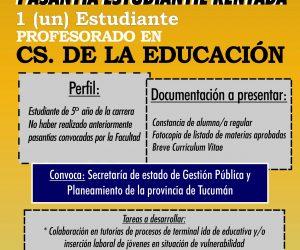Convocatoria Pasantía Rentada Educación. Diciembre
