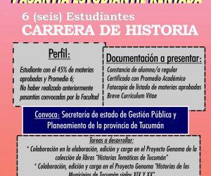 Convocatoria Pasantía Rentada Historia. Diciembre. Prórroga