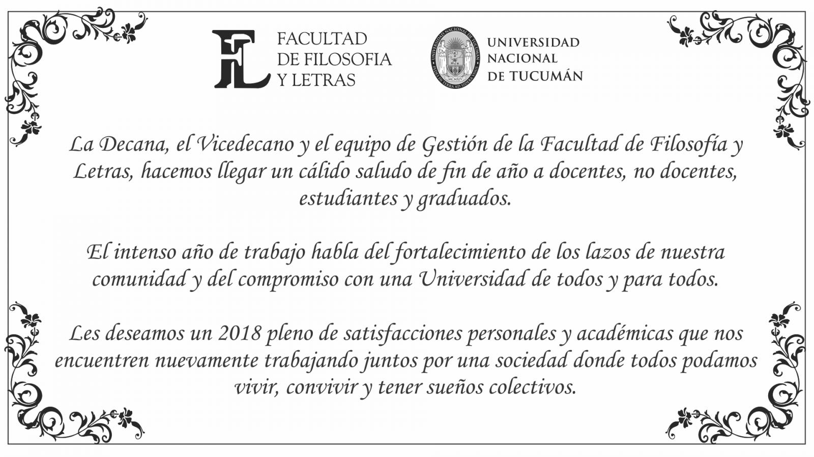 Tarjeta salutación de las Autoridades. 2018