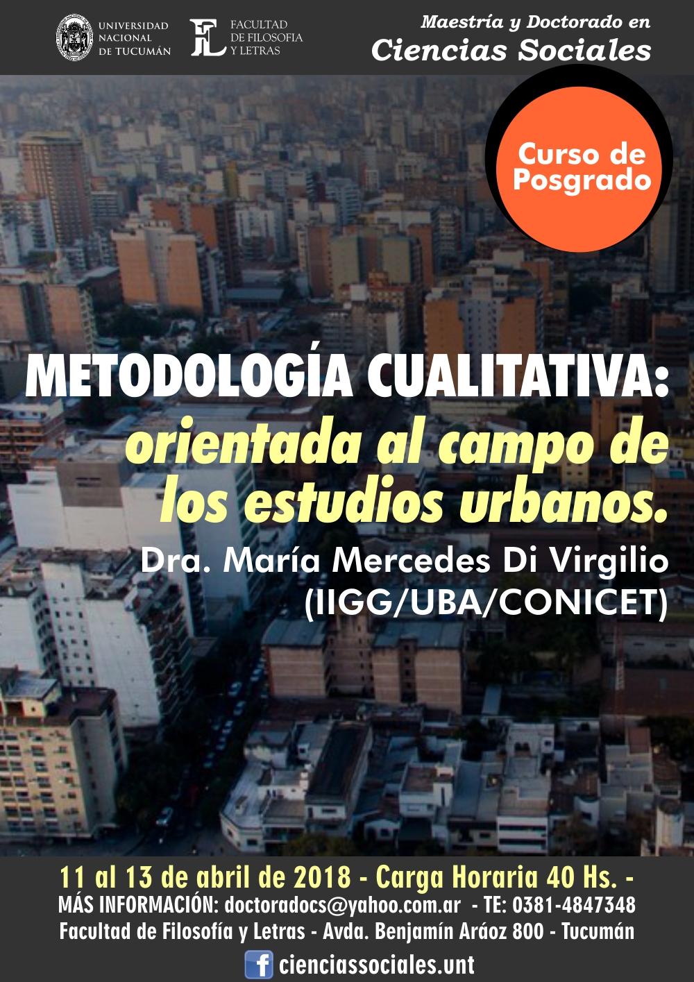 Posgrado metodología cualitativa ofrecido por el Doctorado en Ciencias Sociales