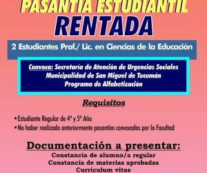 Pasantía Estudiantil Rentada. Ciencias de la Educación. Febrero 2018