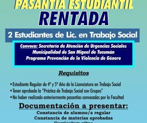 Pasantía Estudiantil Rentada. Trabajo Social. Febrero 2018