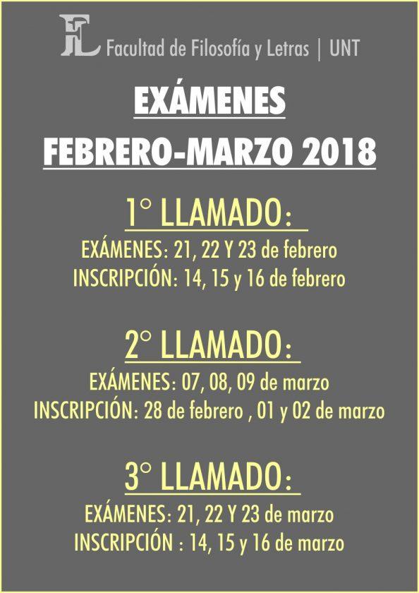 Exámenes Febrero Marzo 2018