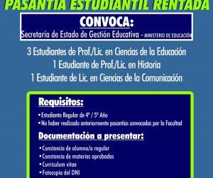 Pasantías convocadas por Secretaría de Estado de Gestión Educativa