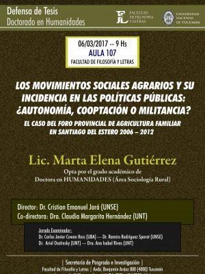"""Defensa de Tesis """"Los movimientos sociales agrarios"""""""