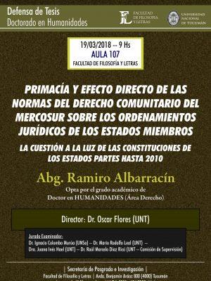 """Defensa de Tesis """"Primacía y efecto directo de las normas del derecho comunitario"""""""