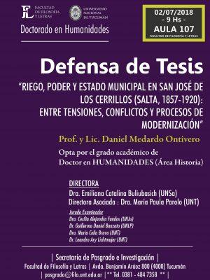 """Defensa de tesis """"Riego, poder y Estado Municipal en San José de los Cerrillos"""""""
