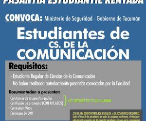 Pasantías Cs de la Comunicación. Ministerio de Seguridad