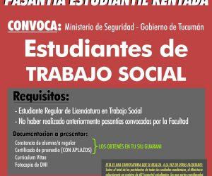 Pasantías Trabajo Social. Ministerio de Seguridad