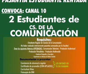 Pasantías Cs de la Comunicación. Canal 10