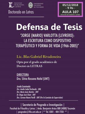 "Defensa de tesis ""Jorge Varlotta: la escritura como dispositivo terapéutico"""