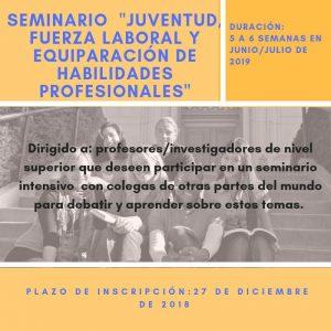 """Seminario """"Juventud, fuerza laboral y equiparación de habilidades profesionales"""""""