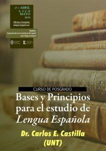 """Afiche posgrado """"Bases y principios para el estudio de la lengua española"""""""