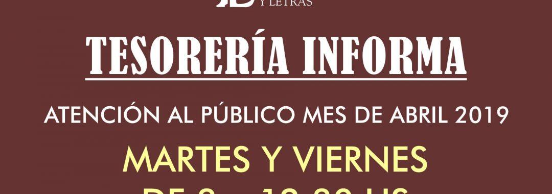 Cartel Horarios Tesorería. Abril 2019